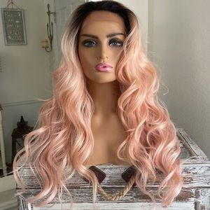 Accessories - Pink Blonde Human Hair Blend Lace Front wig